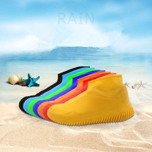 Wholesale 8styles Silicone Anti Skid Rain Shoes Boots Waterproof Raincoat Cover Water Playing Shoes Overshoes Anti slip Beach Raining socks FFA1970