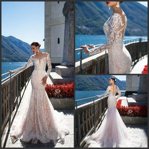 Wholesale 2019 New Backless Wedding Dresses With Long Sleeves Mermaid Sheer Plunging Neck Trumpet Bridal Gowns Sweep Train Tulle Lace Wedding Dress