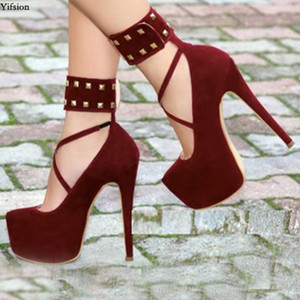 Yifsion Women Platform Pumps Sexy Rivets Stiletto High Heels Pumps Round Toe Nice Wine Red Dress Shoes Women Plus US Size 5-15
