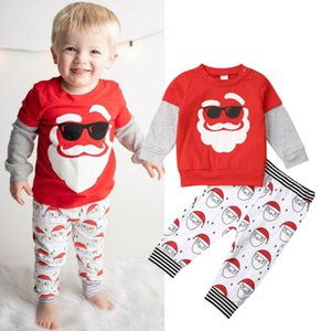 Wholesale Emmababy Years Toddler Kids Baby Boy Girl Christmas Santa Sweatshirt Pants Outfits Clothes