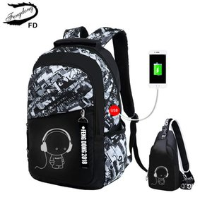 Wholesale Fengdong Boys Bags Waterproof Large Teenagers Bagpack High School Backpack For Boy Student Chest Bag Set Q190530