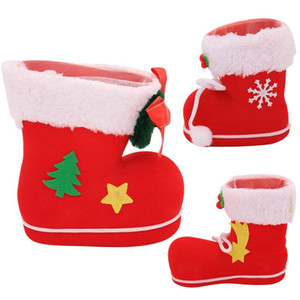 Wholesale Christmas Boot Shaoed Gift Bag Candy Box Christmas Tree Pendant Decorative Santa Claus Ornaments Xmas Decoration For Home Car