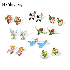 Wholesale 2019 New Flying Peter Pan Acrylic Earrings Wendy Shrinky Dinks Earrings Gilfts Women Epoxy Silver Earring