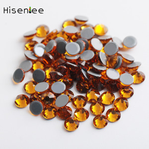 Wholesale High quality fashion charm multi size flat round gold yellow glass heat repair rhinestone DIY nail decoration accessories tools