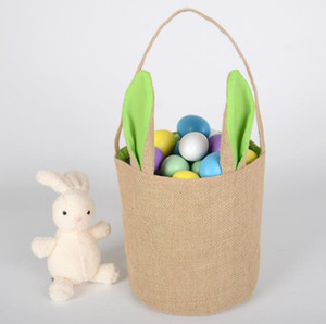 Wholesale jute totes for sale - Group buy Rabbit Ear Cotton Linen Easter Egg Bag Bunny Ear Shopping Tote kids Jute Cloth Hand painted DIY Creative Candy Gift Bag Round Bottom