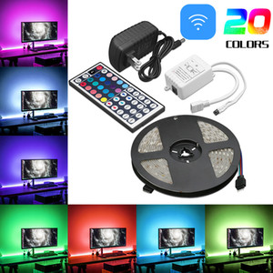 Wholesale 5M RGB Waterproof LED Strip light SMD Key Remote V US EU Power Full Kit LED Flexible Light Strip with OPP Bag