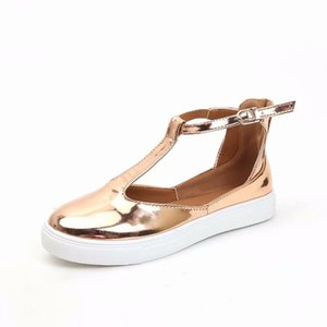 Wholesale Summer Round Head Single Shoes Women Sneakers Sandals Large Size Flattie Low Band Rubber Material Golden Brown xh C1