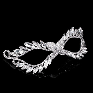Crystal Mask Silver Tone Venetian Bridal Masquerade Rhinestone Crystal Eye Mask Halloween Fancy Dress Ball Party Mask on Sale