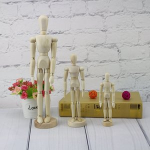Wholesale New Modern Abstract Sculpture Wooden doll puppet Movable joints figure model Statue Carving wooden Figurine Home Decorations