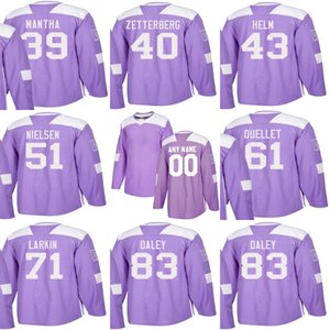 Custom Mens Momens Kids Detroit Red Wings 40 Henrik Zetterberg 43 Darren Helm 51 Frans Nielsen 71 Larkin Stitched Purple Ice Hockey Jerseys on Sale