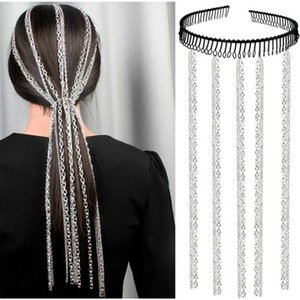 Wholesale Hair Decoration Tassel Chain Headband For Women Trendy Punk Personality Hairpiece Comb Bridal Wedding Jewelry Accessories