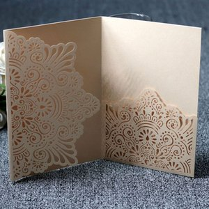 Wholesale 10pcs Business wedding Invitation Cards Personalized Laser Cut Romantic Party Greeting Card Floral Lace Hollow Design T8190617