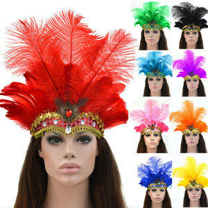 Wholesale Indian Peacock Feather Headband Gemstone Headdress Showgirl Headpiece Carnival
