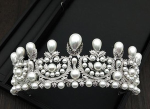 New Sea Crown Jewelry European Bride Pearl Artificial Full Zircon Marriage Crown Headdress Crown Hair Jewelry