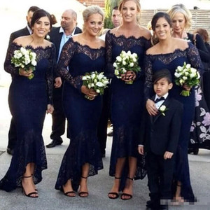 Wholesale Vintage Lace Navy Blue Mermaid Bridesmaid Dresses Off the Shoulder Tea Length 2019 Custom Made Plus Size Long Sleeves Maid of Honor Gown
