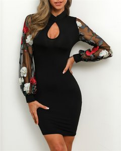 Wholesale Fashion Womens Black Dress Designer Sexy Embroidery Party Dress Autumn Female Luxury Long Sleeves Dress