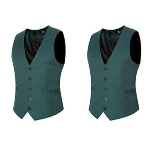 Wholesale Dark Green Mens Designer Wedding Vest Slim Fit Groom Clothes Formal Men Custom Made Waistcoat Suits