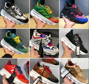 Wholesale 2019 Luxury designer shoes Chain Reaction ulzzang Dad Black Casual shoe White Mesh Rubber Leather Flat Men women Fashion Sneakers