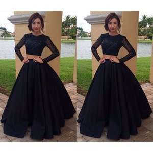 2019 two pieces Black Prom Dresses Beaded With sheer Long Sleeves A-line Satin Evening Party Gowns Dress custom made cheap Vestidos Largos on Sale