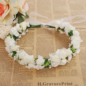 Wholesale Wedding Rose Flower Crown Artificial PE Flower Wreaths Bride Hairband Festival Travel Beach Hair Accessory Floral Garland cm
