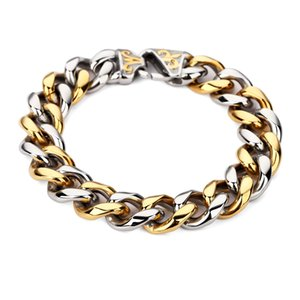 Wholesale AGOOD New Men Stainless Steel Charm Bracelet Heavy Vintage Curb Link Chain Big Hip Hop Bangles Fashion mm Wide Cool Wristband
