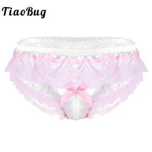 Wholesale TiaoBug Men Shiny Satin Hot Sissy Panties Lingerie Pink Ruffle Floral Lace Open Zipper Crotch High Cut Briefs Sexy Gay Underwear