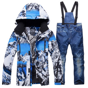 2019 New Winter Ski Suit Men Set Windproof Waterproof Warm Skiing Snowboarding Suits Set Male Outdoor Hot Ski jacket + Pants T190920 on Sale