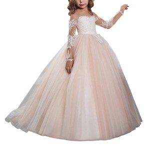 Wholesale Wedding Formal Occasion Flower Girls Pageant First Communion Scoop Lace Dress Bridesmaid Dress Girl Clothing Fashion Dress