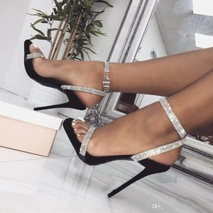 Wholesale Sexy2019 Glitter Silver Rhinestone Single Strappy High Heels Wedding Lady Designer Shoes Size To