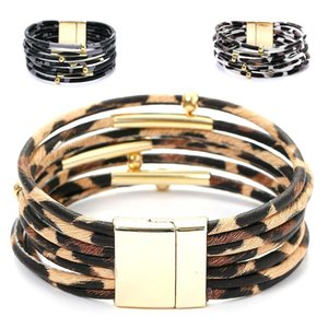 Wholesale Leopard Bohemian Women Bracelet Metal Pipe Multi Layer Charm Faux Leather Wrap Magnetic Bracelet