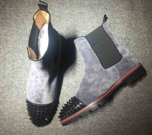 Wholesale Hot Sale Top Red Sole Fashion Trend Men Boots Ankle Boot Leather Suede With Red bottom Rivet Decorative Short Knight Boots