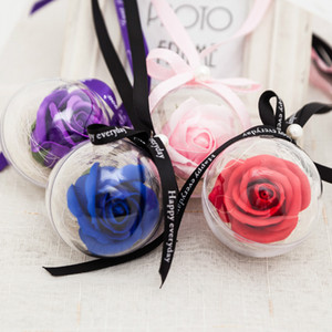Wholesale Transparent Rose Soap Flower Ball Wedding Decoration Romantic Valentine s Day Birthday Party Gift Car Hanging Pendant Ornament Accessories