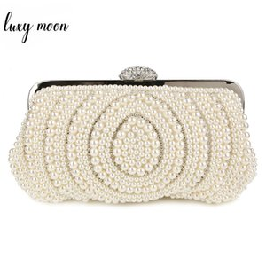 Wholesale Fashion Pearls Clutch Bag White Beige Evening Bags Beaded Women Shoulder Bags Wedding Party Purse Diamonds Clutch Bag ZD483