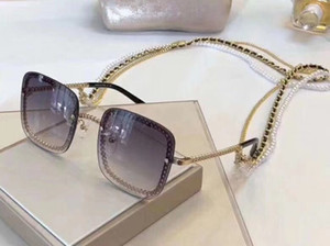 Luxury Designer Sunglasses For Women And Men Square Chain Frame And Temples Fashion Women Metal Chain Buckle 7 Colors
