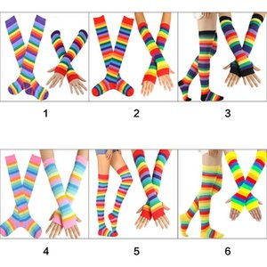 Wholesale Womens Rainbow Stripes Over Knee Thigh High Socks Arm Warmer Fingerless Gloves Set Fancy Dress Cosplay Masquerade Party Costume