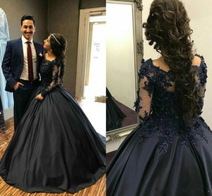 2019 Robes de Soiree Beaded Lace Prom Dresses Long Sleeve Black Ball Gown with Sleeves Evening Gowns Cocktail Party Formal Dress on Sale