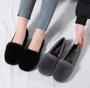Wholesale Genuine leather rabbit fur wool shoes Moccasins female autumn and winter plus velvet pointed toe flat plus size single shoes
