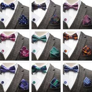Wholesale YISHLINE SET MENS BOW TIE Handkerchief Cufflink SET stripes FLORAL paisley patterns Man ties tuxedo wedding Adjustable