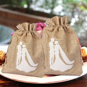 Wholesale 12 Formal Dress Style Candy Linen Bag Trendy Natural Linen Drawstring Wedding Favor Bags