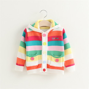 Wholesale Baby Sweaters jacket New fashion Rainbow color Knitted Sweater Boys Girls Child Children Outerwear Clothes Hooded Kids Coat