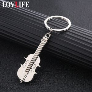 Wholesale Mini Violin Keychain Charm Music Keyring Creative Metal Key Ring Silver Plated Musical Note Symbol Pendant Key Chains Students
