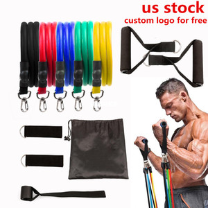 US STOCK, 11 pcs Set Pull Rope Latex Fitness Exercises Resistance Bands Elastic Exercises Body Fitness Strength Resistance Bands FY7007