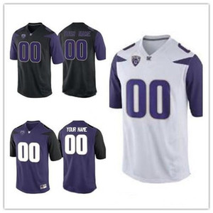 Wholesale Custom Washington Huskies New Brand Football Any Name Number Black Purple White Jacob Eason Salvon Ahmed Men Youth Jersey XL