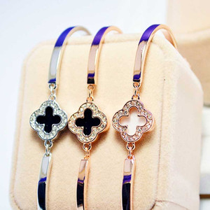 Four-leaf Clasp Bracelet Accessories Girl Jewelry Bracelet Leaf Shape Alloy Color Retention Real Gold Plating Tourism Memorial 40