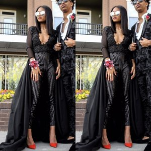 Wholesale 2019 Sexy Black Prom Dresses Stunning Jumpsuit Evening Wear Long Sleeves Sequins Beaded With Detachable Train Custom Made