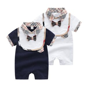Wholesale INS Baby Boys Girls Clothes Plaid Romper bib set Bodysuit outfit Cotton Newborn Summer short sleeve Romper Kids Designer Infant Jumpsuits