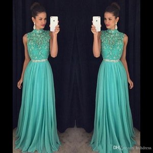Wholesale neck soiree dresses resale online - New Mint Green Crystal Beaded Long Prom Dresses High Neck Sheer Chiffon A Line Backless Party Gowns Vestidos De Fiesta Robe De Soiree A177
