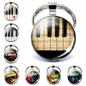 Wholesale Music Festival Jewelry Vintage Piano Photo Glass Cabochon Keychain Music Accessories Handmade Gift for Pianist Piano Lovers