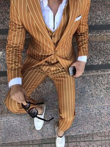 Wholesale Pinstripe Three Piece Men Suits Peaked Lapel One Button Prom Suits Slim Fit Mens Tuxedos Grooms Wedding Suits Terno Masculino Coat Vest Pant