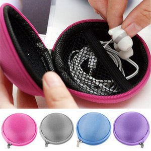 Wholesale 1PC Candy Color Mini Zipper Earphone Headphone SD Card Storage Bag Box Carrying Pouch Round Case For Outdoor Travel Organizing